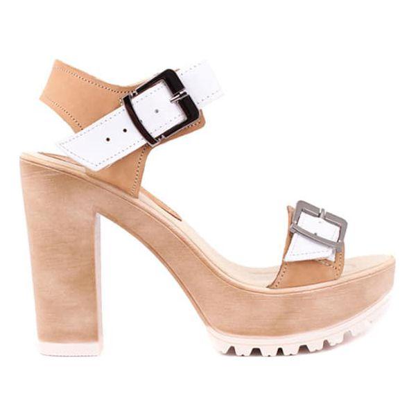 a287535ad54509 Skórzane sandały w kolorze piaskowym - Brązowe sandały damskie ...