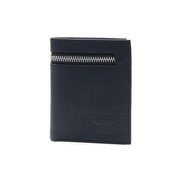 4c75631ca3593 Skórzany portfel w kolorze granatowym - (S)9