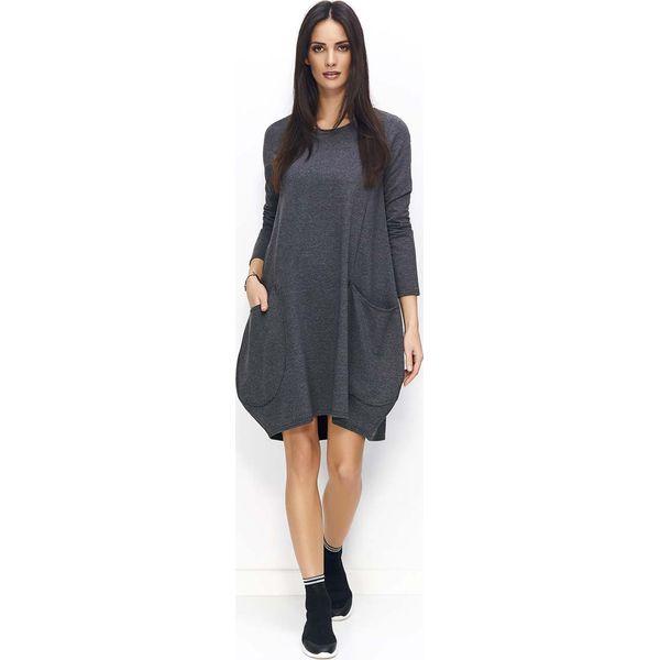 4965f95b14 Grafitowa Sukienka Bombka z Wydłużonym Tyłem - Sukienki damskie ...