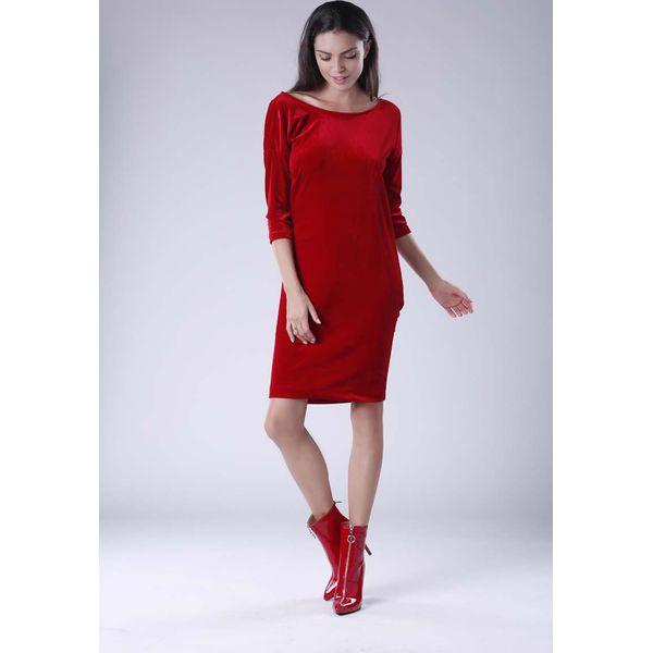9f2e85b78a74 Czerwona Wyjściowa Sukienka Welurowa z Lejącym Dekoltem na Plecach ...