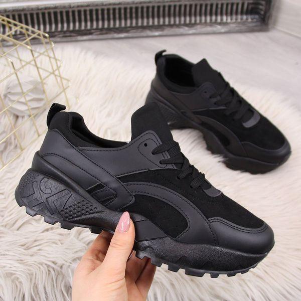 Buty sportowe damskie wysoka podeszwa czarne McKeylor czarny