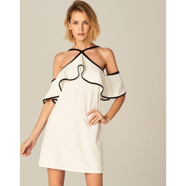 dac65afcb4 Finezyjna sukienka z falbaną - Kremowy - Białe sukienki damskie ...