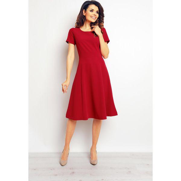 012844424d Bordowa Elegancka Rozkloszowana Sukienka - Czerwone sukienki damskie ...