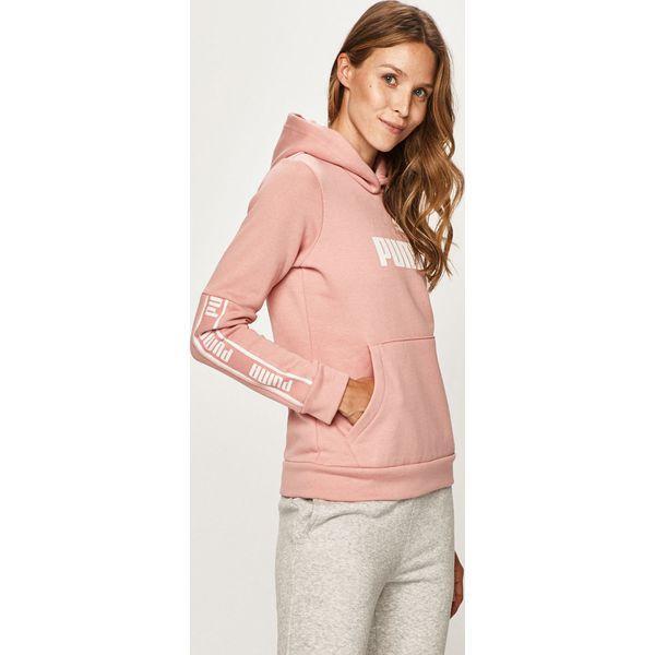 bluza z napisem puma damska rozowa z kapturem