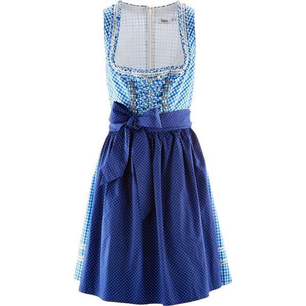 a093fcc702 Krótka sukienka ludowa z fartuchem bonprix błękit królewski w kratę ...