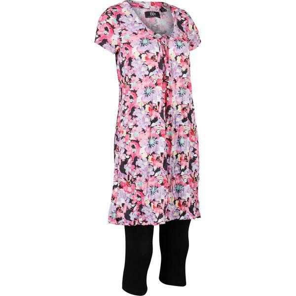 Długa tunika z kreszowanego materiału + legginsy 34 bonprix czarno różowy w kwiaty
