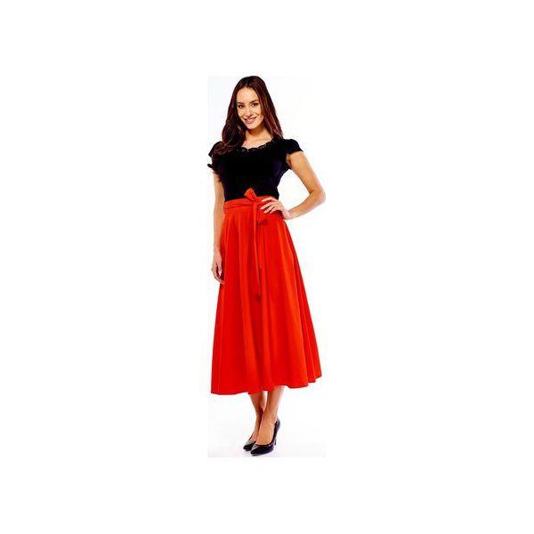 Spódnica długa rozkloszowana Grace czerwona