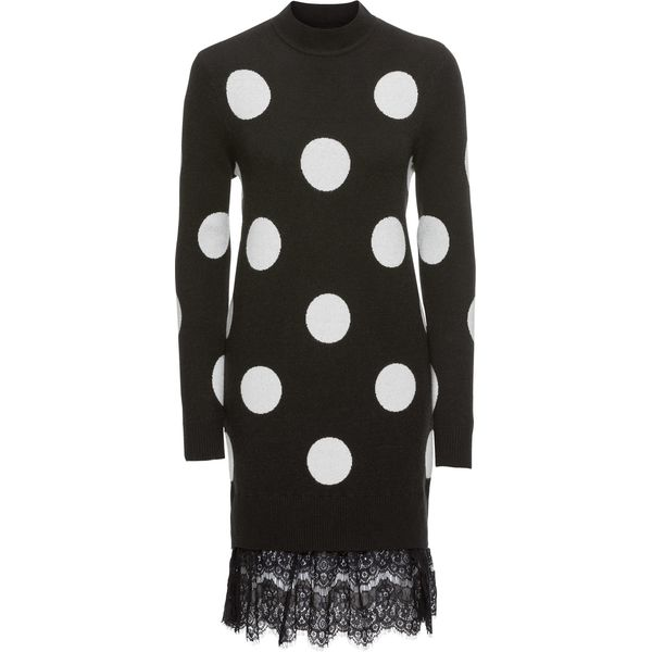 b4431e7f2e Sukienka dzianinowa z koronkową wstawką bonprix czarno-biały ...