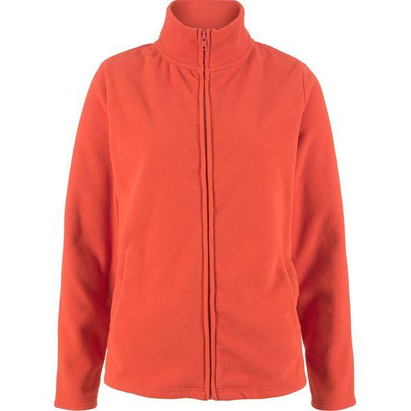 Bluza rozpinana z polaru z wpuszczanymi kieszeniami bonprix pomarańczowy matowy