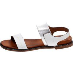 białe sandały płaskie z paskami na krzyż sergio leone sk021