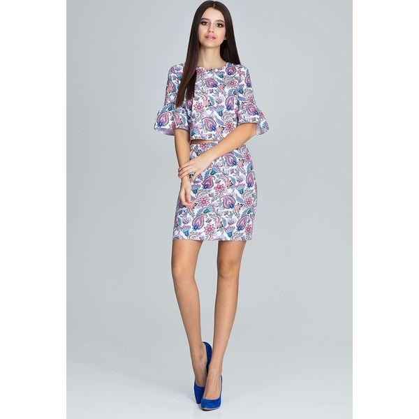 Niesamowite Wzorzysty Elegancki Komplet Bluzka ze Spódnicą - Wzór 83 - Bluzki TJ77