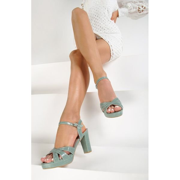 Miętowe Sandały Iadoe Zielone sandały Renee, bez wzorów