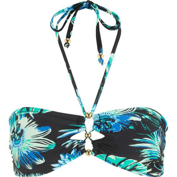 f86bb3d49c7b18 Biustonosz bikini bandeau bonprix czarno-turkusowy z nadrukiem ...