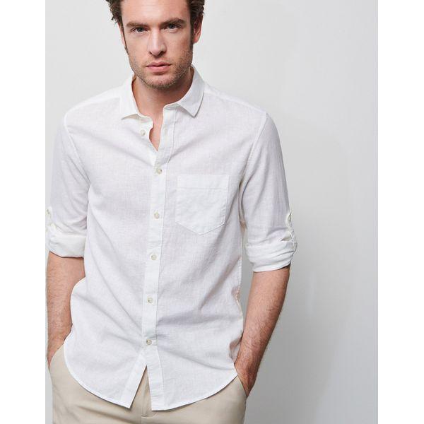 Koszula z lnu i bawełny Biały Białe koszule męskie  PaOxe