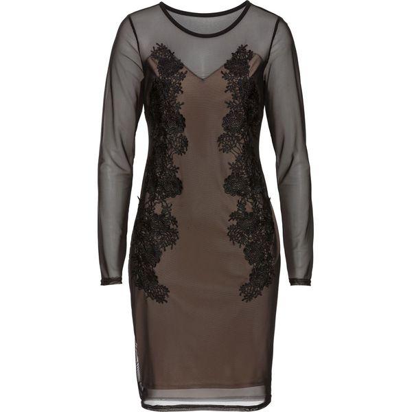 3ea3d399c6 Sukienka siatkowa z koronką bonprix czarno-cielisty - Sukienki ...