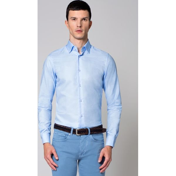 Męska Koszula Klasyczny Krój Satyna Błękitna