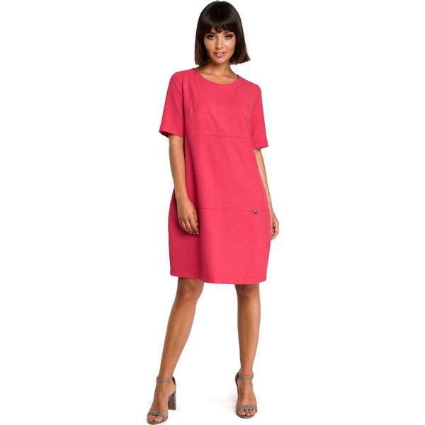 61d90b79 Różowa Casualowa Sukienka Bombka przed Kolano