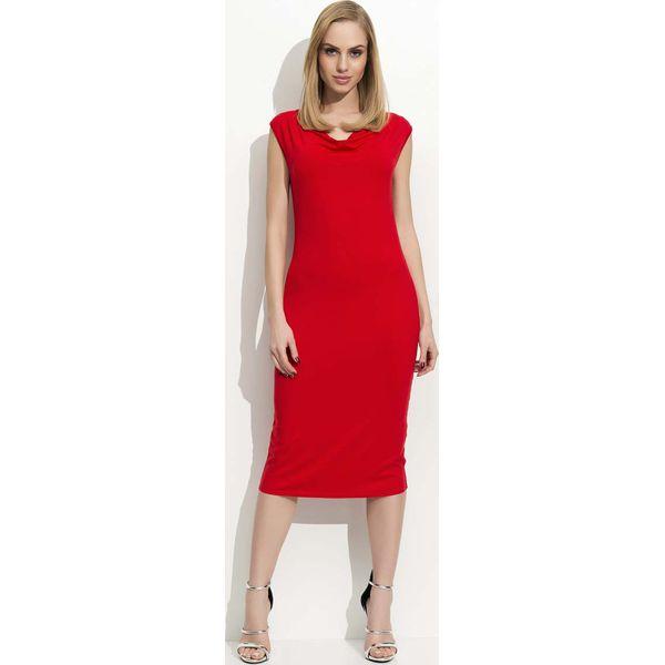 09d702eb1e Czerwona Sukienka Midi z Lejącym Dekoltem - Czerwone sukienki ...