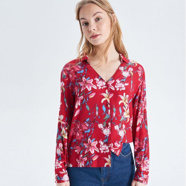 df0f3ec823a0 Koszula w kwiaty - Czerwony - Koszule damskie marki Cropp. W ...