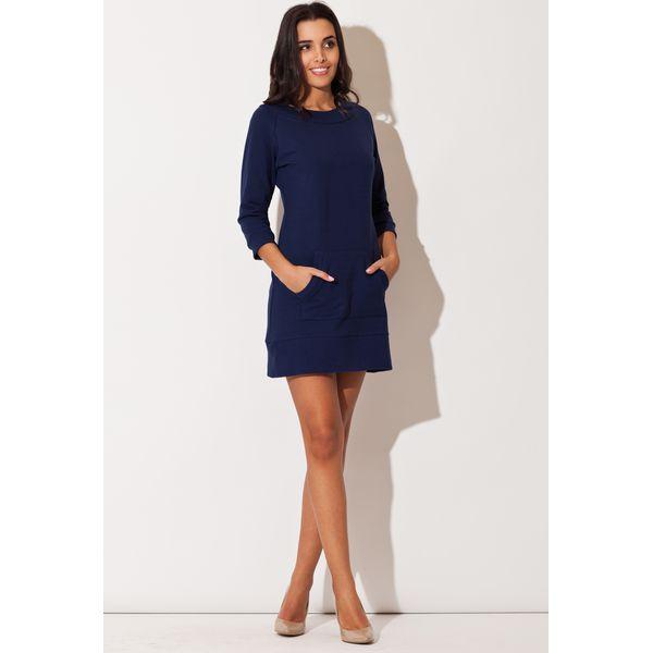527cf31300 Niebieska Dresowa Sukienka z Kieszenią Kangurka - Sukienki damskie ...