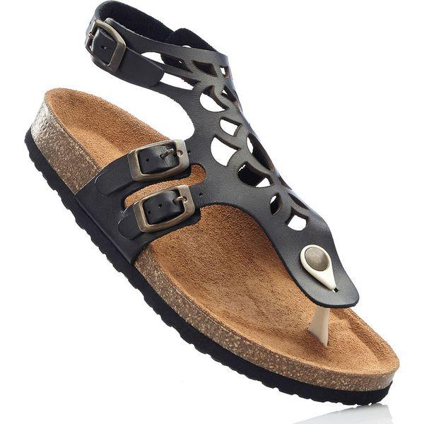 50eb048f9cb4e4 Wygodne sandały skórzane bonprix czarny - Sandały damskie marki ...