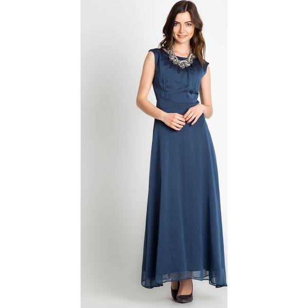 3377bb6092 Granatowa elegancka sukienka maxi QUIOSQUE - Szare sukienki damskie ...