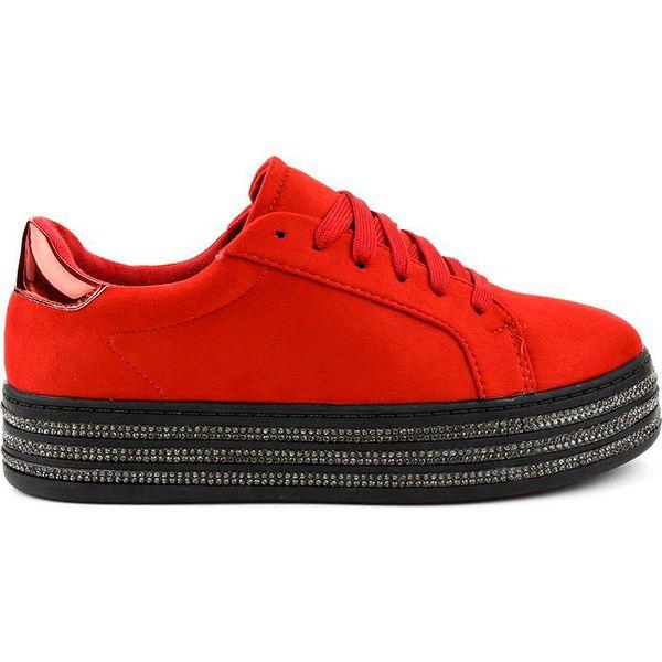 Czerwone trampki zdobione damskie G280