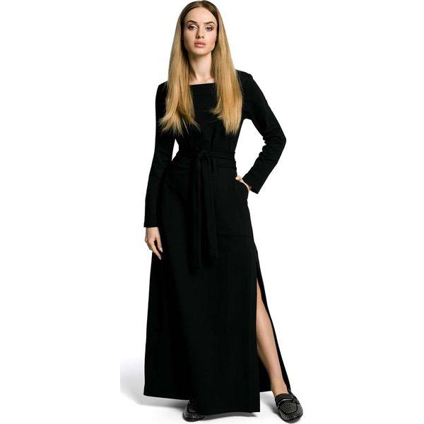aff5492598 Czarna Sukienka Dresowa Maxi z Dekoltem Caro z Rozcięciem - Sukienki ...