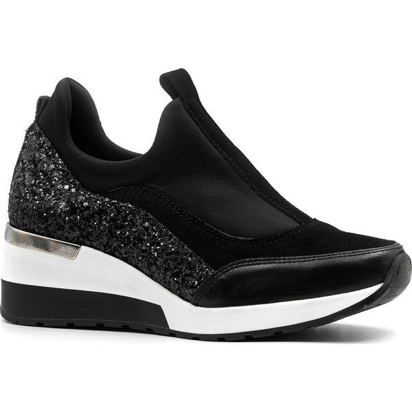 Czarne skórzane wsuwane buty sportowe 903 Czarne obuwie