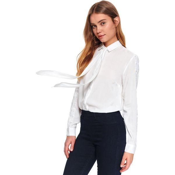 Damska koszula z aplikacją Białe koszule damskie TOP  3P6Fb