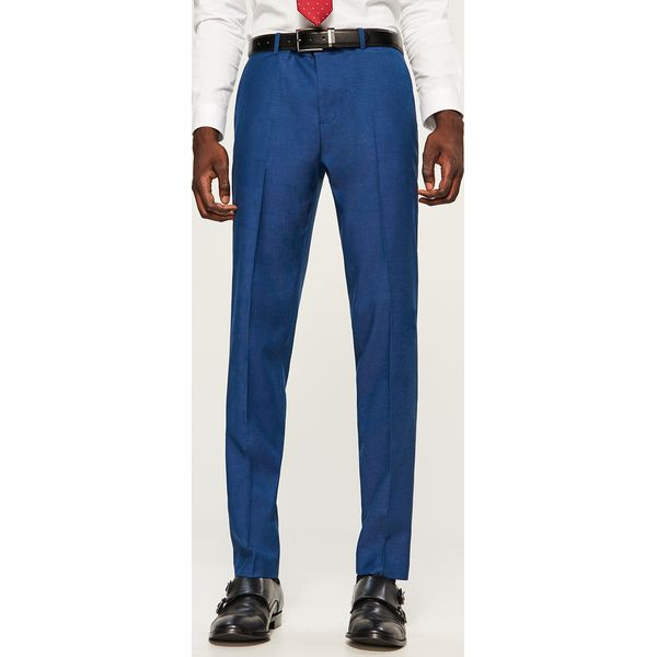 246c0a2ccd78b Spodnie garniturowe slim fit - Niebieski - Eleganckie spodnie męskie ...