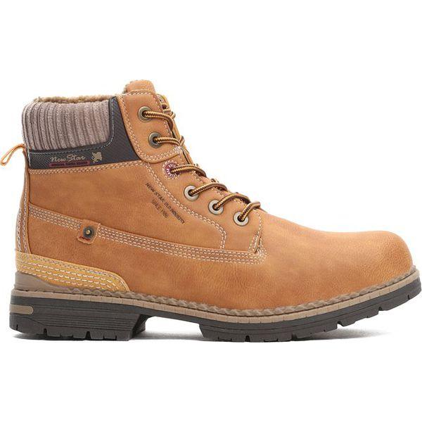 Ogromny Camelowe Trapery Coldish - Brązowe buty zimowe męskie marki CR74