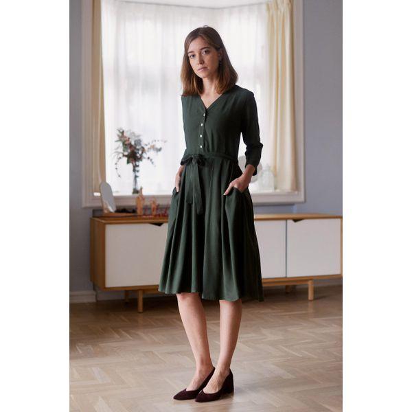 c1a2158835 Sukienka Alodia khaki - wiskoza z rayonem 32 zielony - Zielone ...