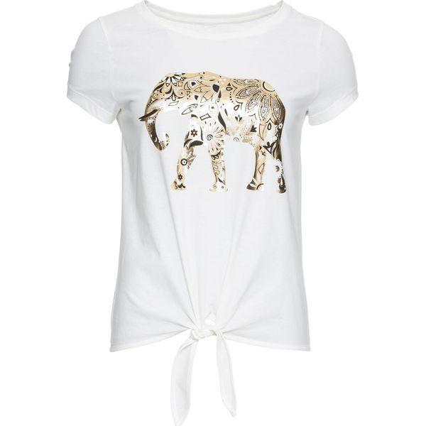 c1725ab76 T-shirt ze złotym nadrukiem bonprix biały z nadrukiem - T-shirty damskie  marki bonprix. Za 37.99 zł. - T-shirty damskie - Koszulki i topy damskie -  Odzież ...