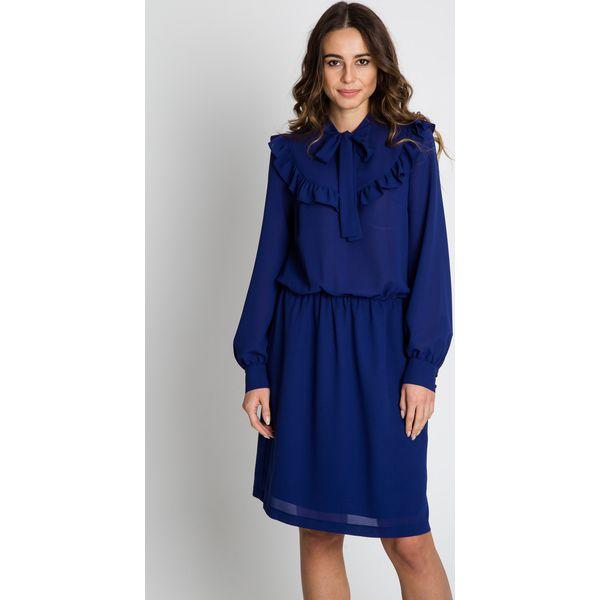 Unikalne Szyfonowa granatowa sukienka z długim rękawem BIALCON - Sukienki LU12
