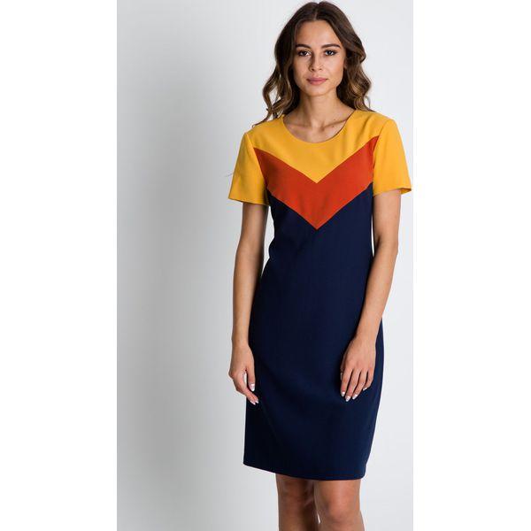 542cd9d233 Trapezowa sukienka z krótkim rękawem BIALCON - Brązowe sukienki ...