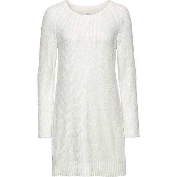 64d99add9b Sukienka dzianinowa oversize bonprix biel wełny - Białe sukienki ...