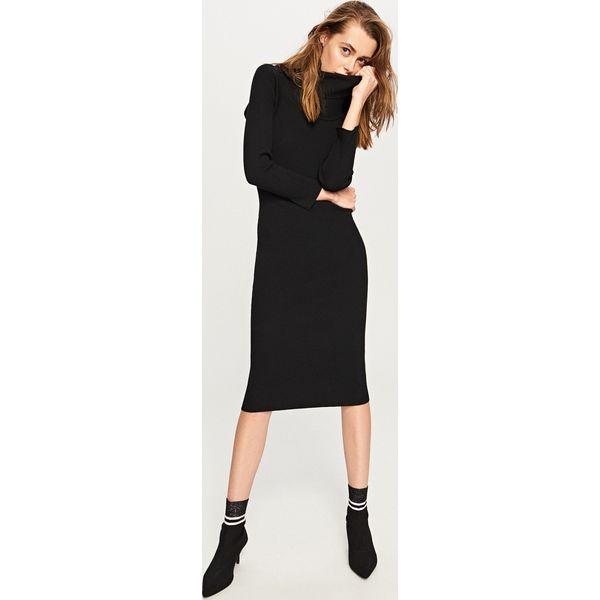 9aa3a9eac1fbef Sukienka midi z golfem - Czarny - Czarne sukienki damskie Reserved ...