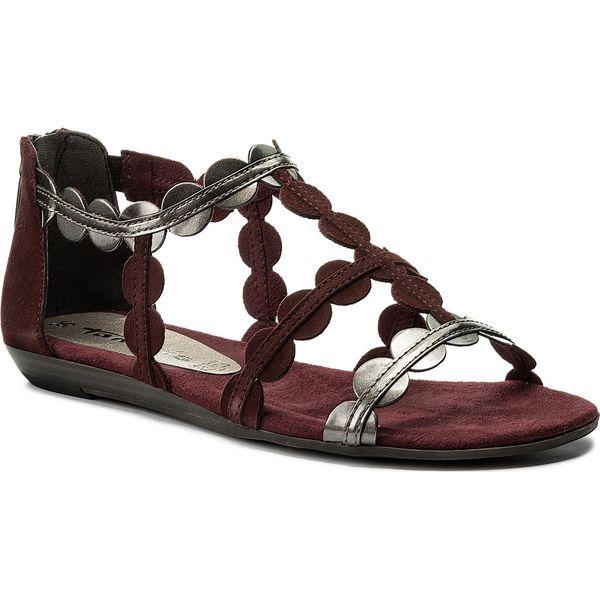 378ee765b2fd6 Sandały TAMARIS - 1-28156-30 Bord./Platinum 282 - Czerwone sandały ...