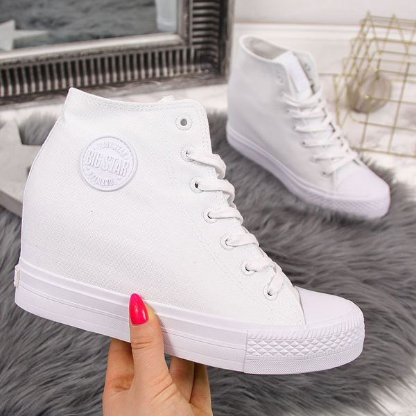 Trampki na koturnie sneakersy białe Big Star FF274A192 biały