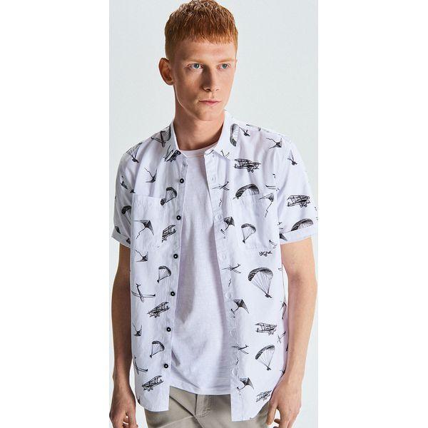 1067999b1a3818 Koszula all over z krótkim rękawem - Biały - Białe koszule męskie ...