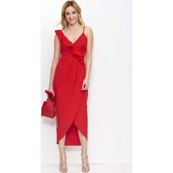 4e4ee72ff9 Czerwona Sukienka Długa Kopertowa z Falbankami - Czerwone sukienki ...