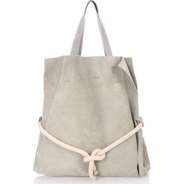 42b31828c6fd8 Skórzany shopper bag w kolorze szarym - 40 x 44 x 7 cm - Shopperki ...
