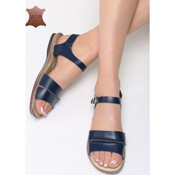 Granatowe skórzane sandały damskie