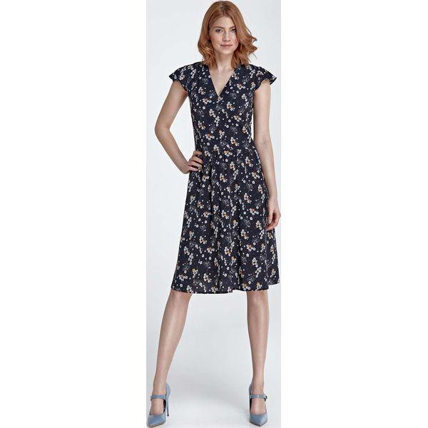 11807fc6dd Granatowa Sukienka Rozkloszowana z Kwiatowym Wzorem - Sukienki ...