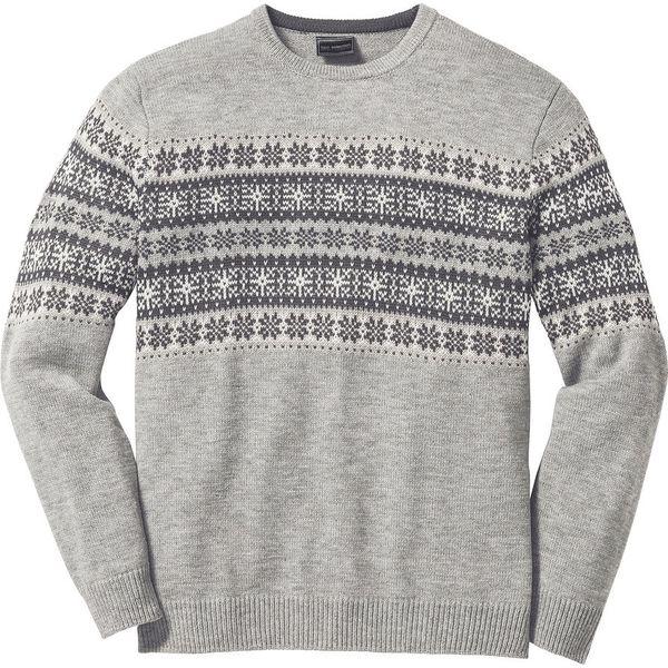 Sweter w norweskie wzory szary