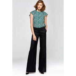 7fd0e0452a1110 Czarne Stylowe Spodnie Damskie z Szerokimi Nogawkami. Czarne spodnie  materiałowe damskie Molly.pl,