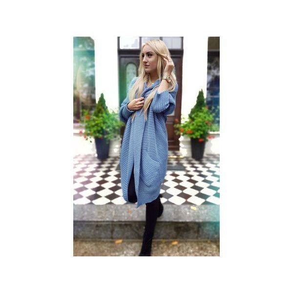 35567d90b3a267 długi asymetryczny sweter damski w kolorze jeansu, zimowy kardigan ...
