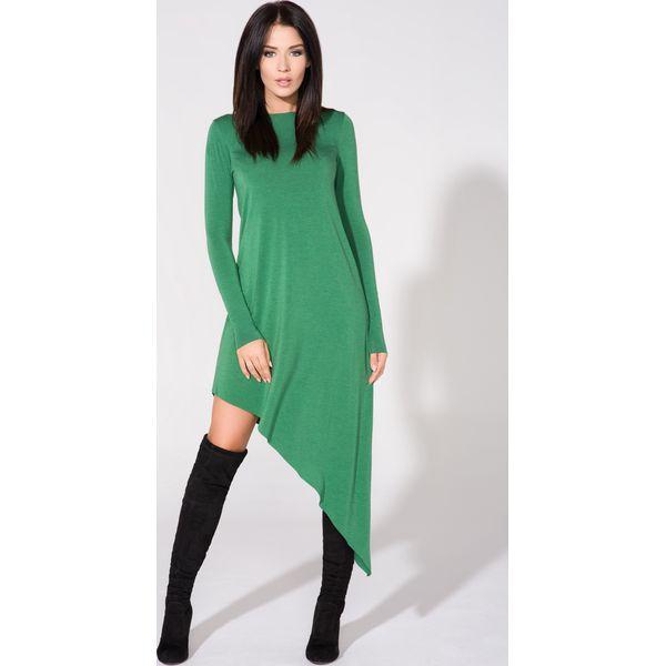 dc7c3b838e Zielona Sukienka Asymetryczna Dzianinowa z Długim Rękawem - Sukienki ...