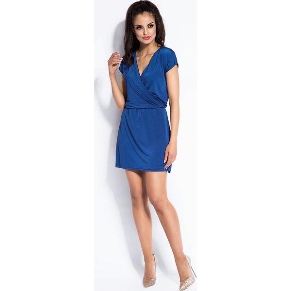 8dc44cb8fc Niebieska Sukienka Mini z Kopertowym Dekoltem - Sukienki damskie ...